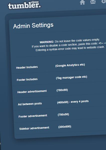 SupreAdmin settings