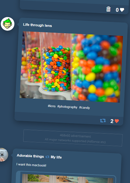 Tumblr Clone Dashboard
