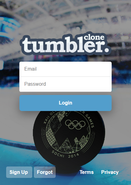 Tumblr Clone Log In Screen